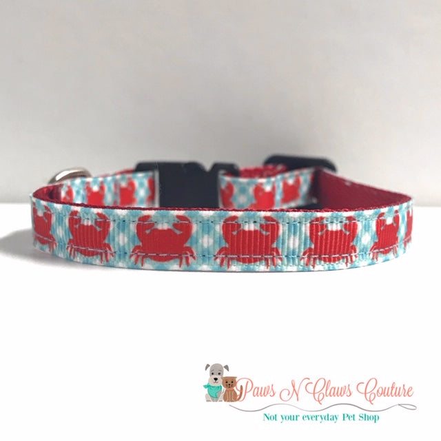 "3/8"" Preppy Crabs Cat or Small Dog Collar - Paws N Claws Couture"