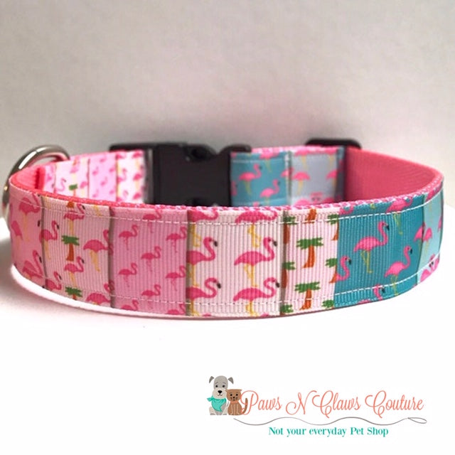 "1"" Flamingo Patchwork Dog Collar, Leash Available"