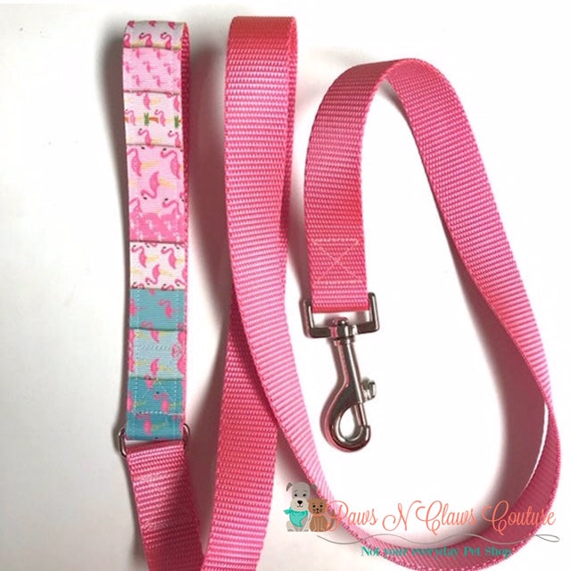 "1"" Flamingo Patchwork Dog Collar, Leash Available - Paws N Claws Couture"