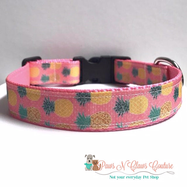 "1"" Preppy Pineapple on Pink Dog Collar, Leash Available"