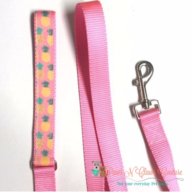 "1"" Preppy Pineapple on Pink Dog Collar, Leash Available - Paws N Claws Couture"