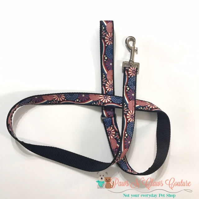 "1"" Patriotic Celebration Dog Harness, Leash Available - Paws N Claws Couture"