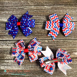 Patriotic Chevron, Stars or Owls Hair Clip - Paws N Claws Couture