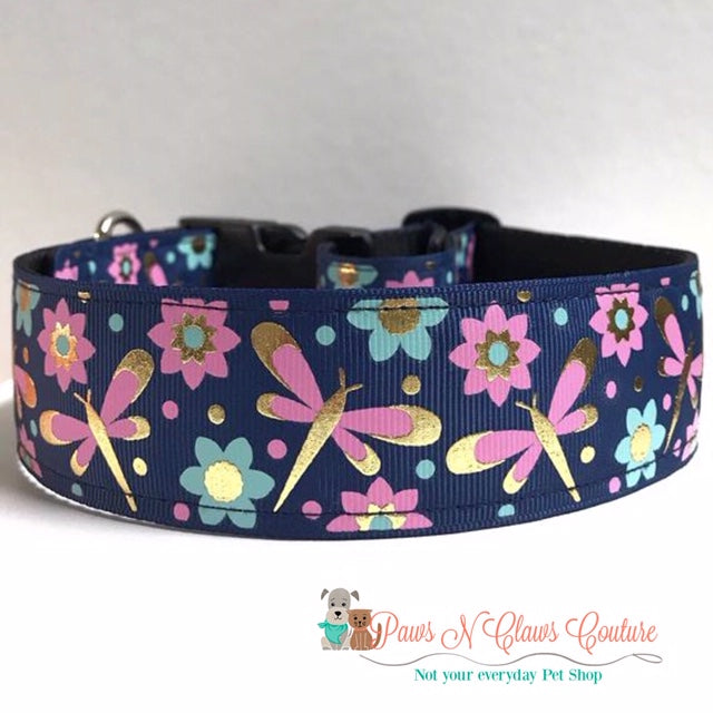 "1.5"" Dragonflies on Navy Dog Collar"