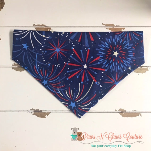 Fireworks on Navy Bandana - Paws N Claws Couture