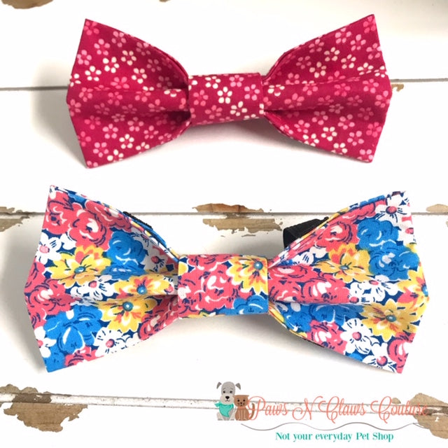 Summer Floral Bow Ties - Paws N Claws Couture