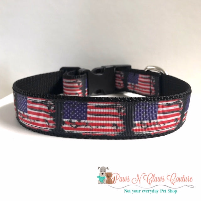 "1"" Tattered Flag Dog Collar, Leash Available"