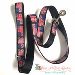 "1"" Tattered Flag Dog Collar, Leash Available - Paws N Claws Couture"
