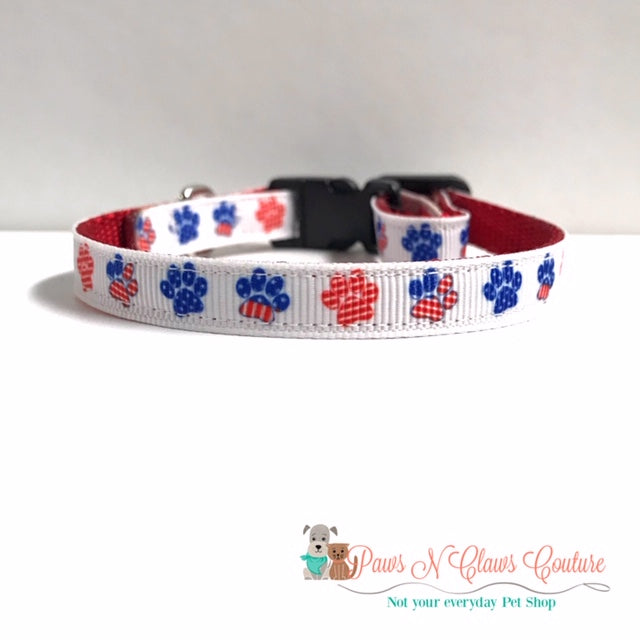 "3/8"" Patriotic Paws Cat or Small Dog Collar - Paws N Claws Couture"