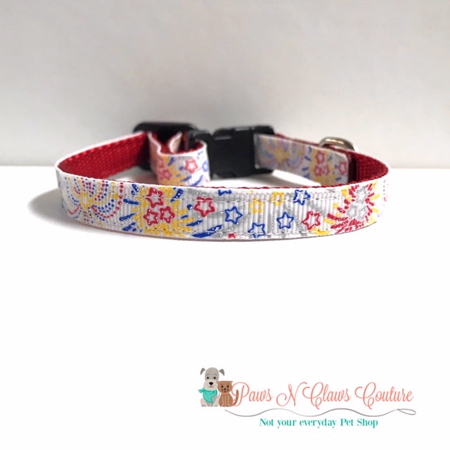 "3/8"" Glitter Fireworks Cat or Small Dog Collar - Paws N Claws Couture"