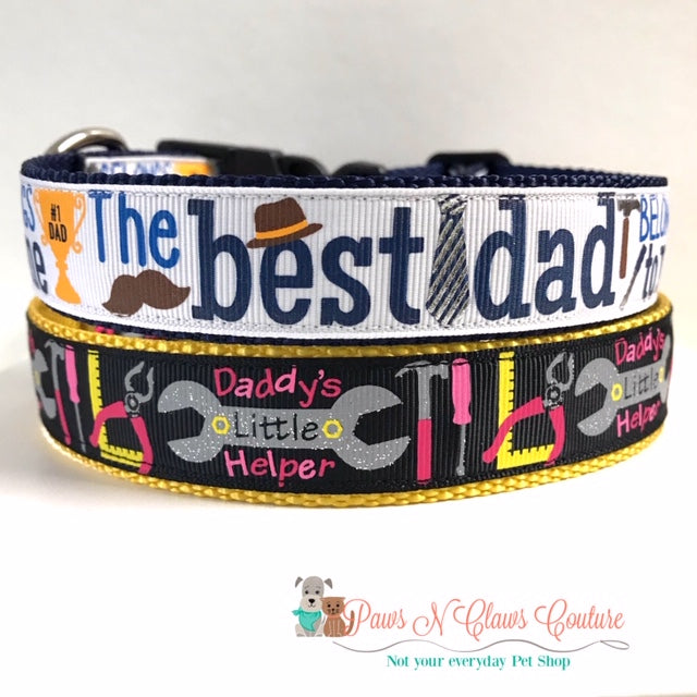 "1"" Best Dad or Daddys Helpers Dog Collar"