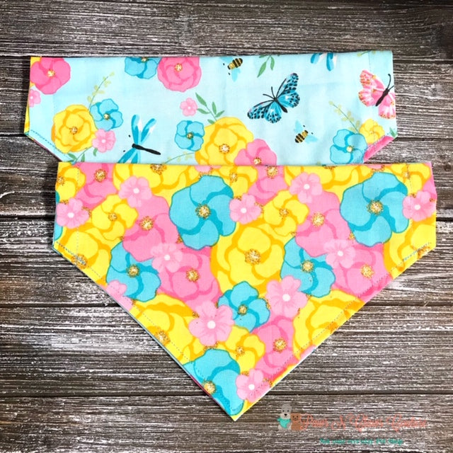 Reversible Flowers, Butterflies, Bees and Dragonflies Bandana