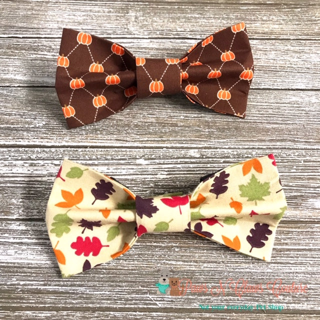 Mini Pumpkins or Fall Leaves Bow Ties