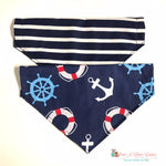 Reversible Stripes and Anchors Bandana - Paws N Claws Couture