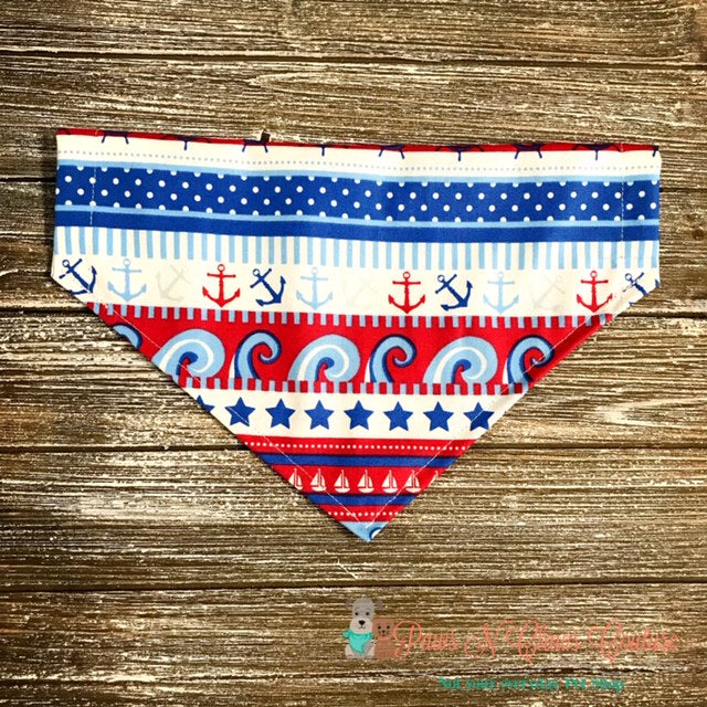 Red, White and Blue Nautical Bandana - Paws N Claws Couture