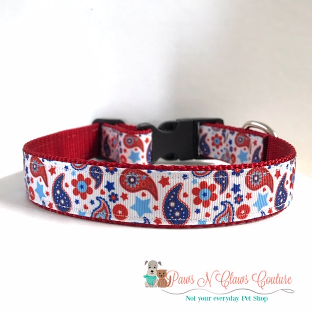 "1"" Paisley or God Bless America Dog Collar - Paws N Claws Couture"