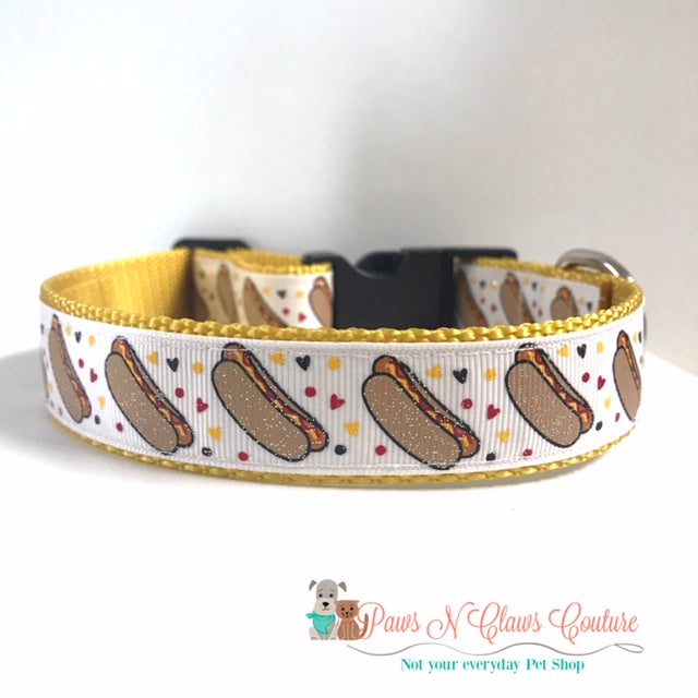 "1"" I love Hot Dogs or Hot Dogs Dog Collar - Paws N Claws Couture"