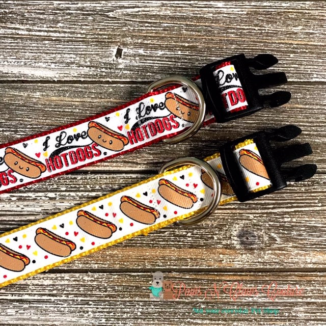 "1"" I love Hot Dogs or Hot Dogs Dog Collar"