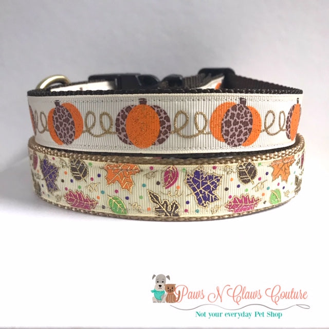 "1"" Leopard Pumpkins or Fall Leaves Dog Collar"