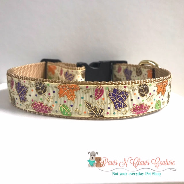"1"" Leopard Pumpkins or Fall Leaves Dog Collar - Paws N Claws Couture"