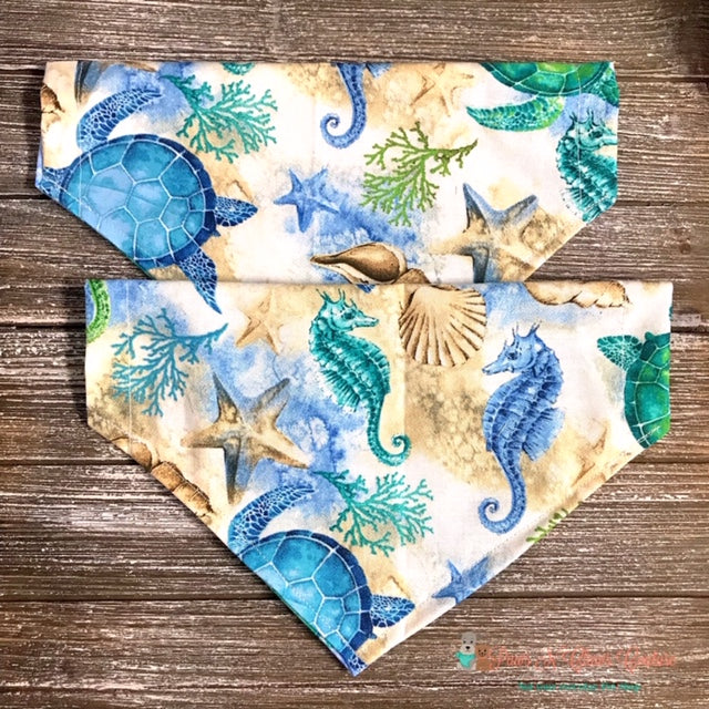 Reversible Sea turtle and Sea horse Bandana - Paws N Claws Couture