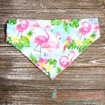 Reversible Tropical Flamingo Bandana - Paws N Claws Couture
