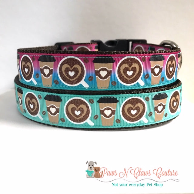 "1"" Pink Ombre or Teal Heart Coffee Dog Collar - Paws N Claws Couture"