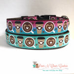 "1"" Pink Ombre or Teal Heart Coffee Dog Collar"