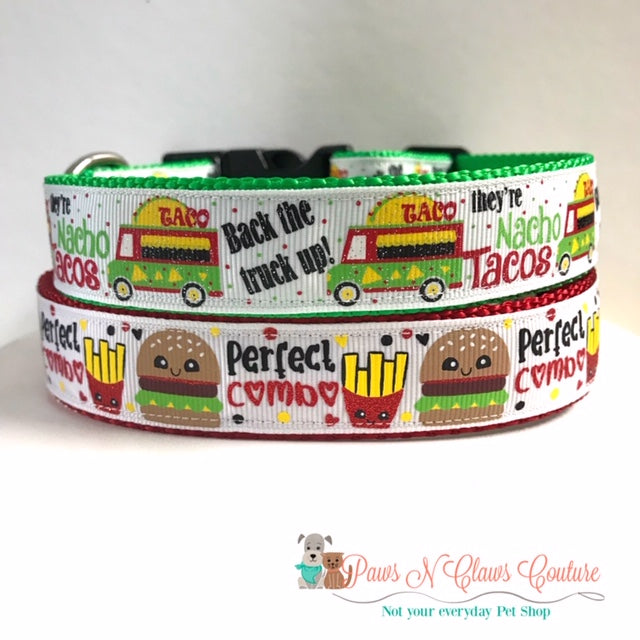 "1"" Nacho Tacos or Perfect Combo Dog Collar"