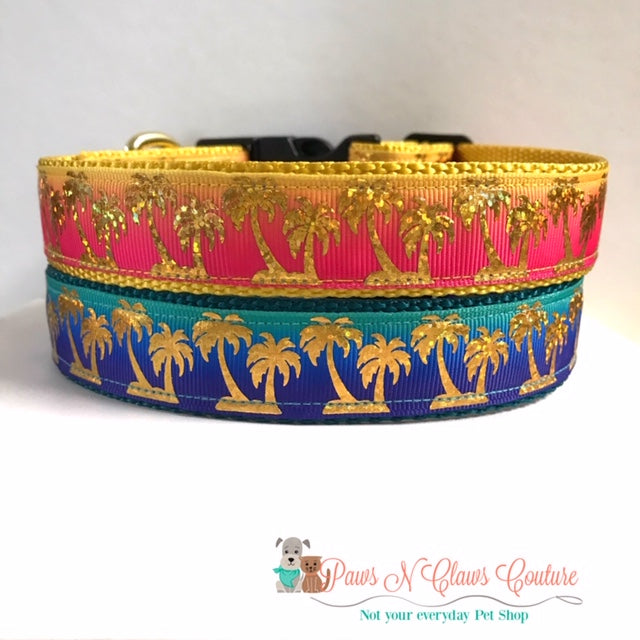 "1"" Gold Foil Palm Trees on Teal/Navy or Pink/yellow Dog Collar"