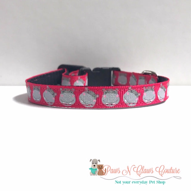 "3/8"" Glitter Hippos Cat or Small Dog Collar - Paws N Claws Couture"
