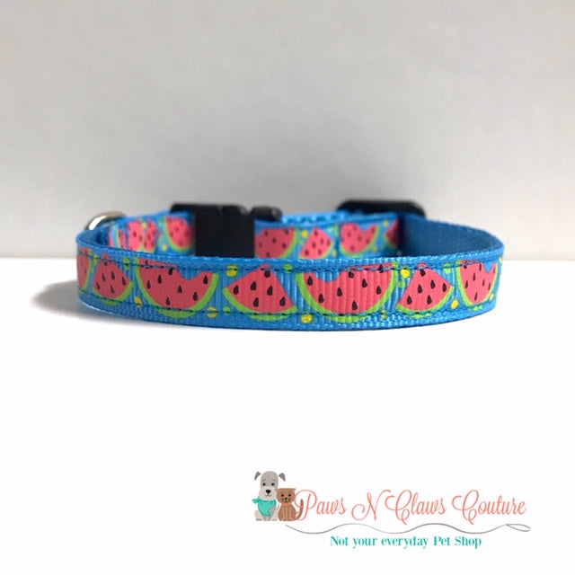"3/8"" Watermelon Cat or Small Dog Collar - Paws N Claws Couture"