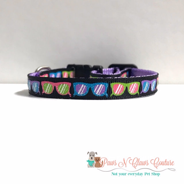 "3/8"" Sunglasses Cat or Small Dog Collar - Paws N Claws Couture"