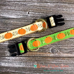 "1"" Pumpkins on Cream or Green Dog Collar - Paws N Claws Couture"
