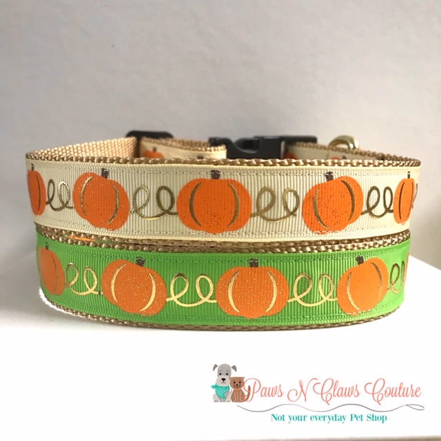 "1"" Pumpkins on Cream or Green Dog Collar"