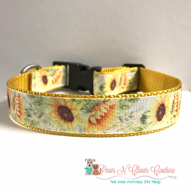 "1"" Sunflowers Dog Collar, Leash Available"
