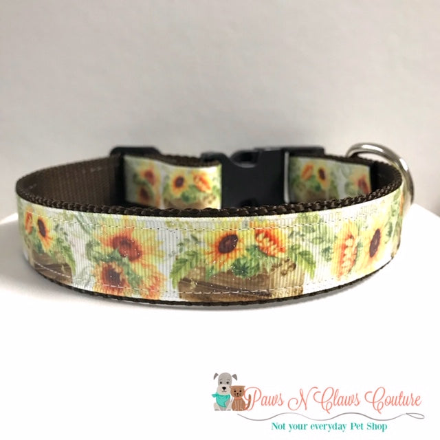 "1"" Sunflowers in Planters Dog Collar, Leash Available"