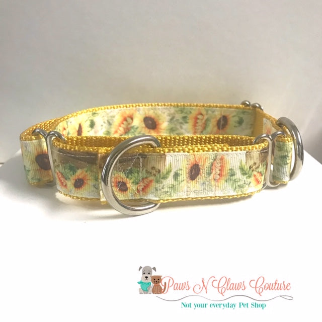 "1"" Sunflowers Martingale Dog Collar, Leash Available"