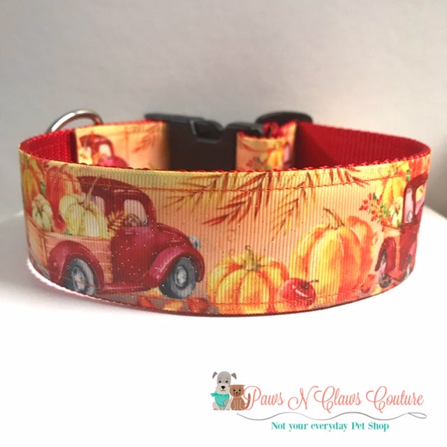 "1.5"" Red Truck and Pumpkins Dog Collar"