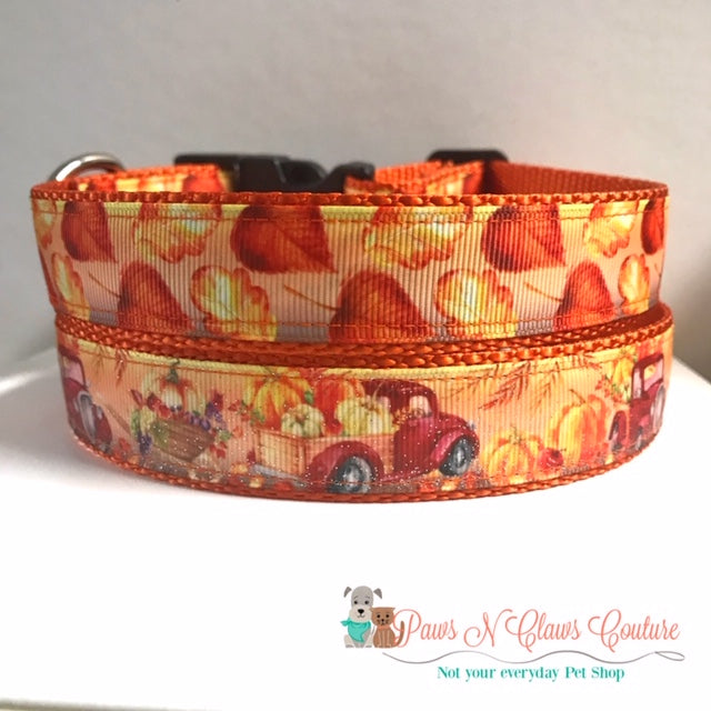 "1"" Red truck and pumpkins or Leaves Dog Collar, Leash Available - Paws N Claws Couture"