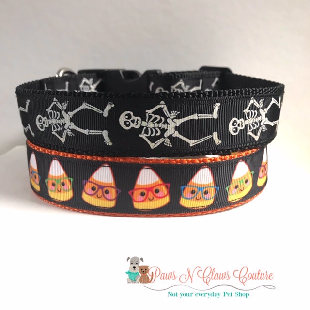 "1"" Skeletons or Nerdy Candy Corn Dog Collar - Paws N Claws Couture"