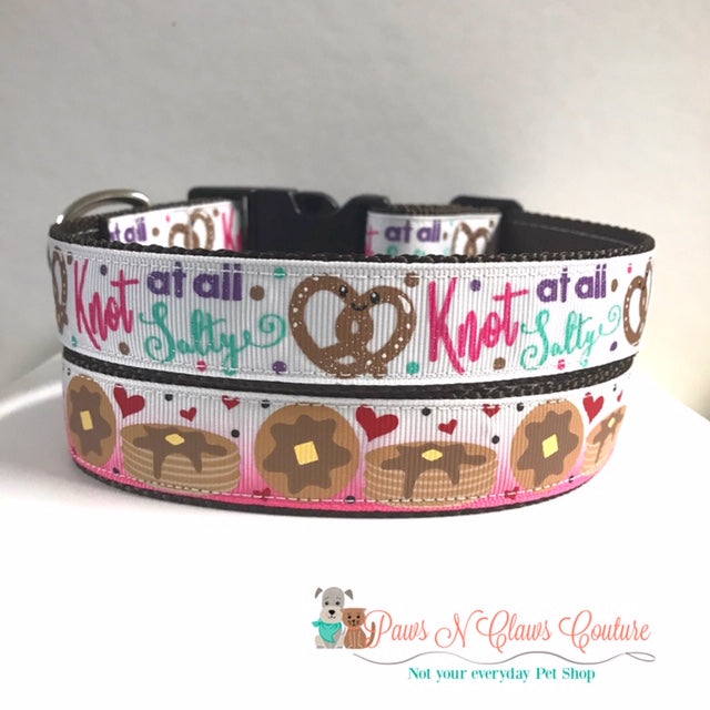 "1"" Knot at all Salty or Pancakes Dog Collar - Paws N Claws Couture"