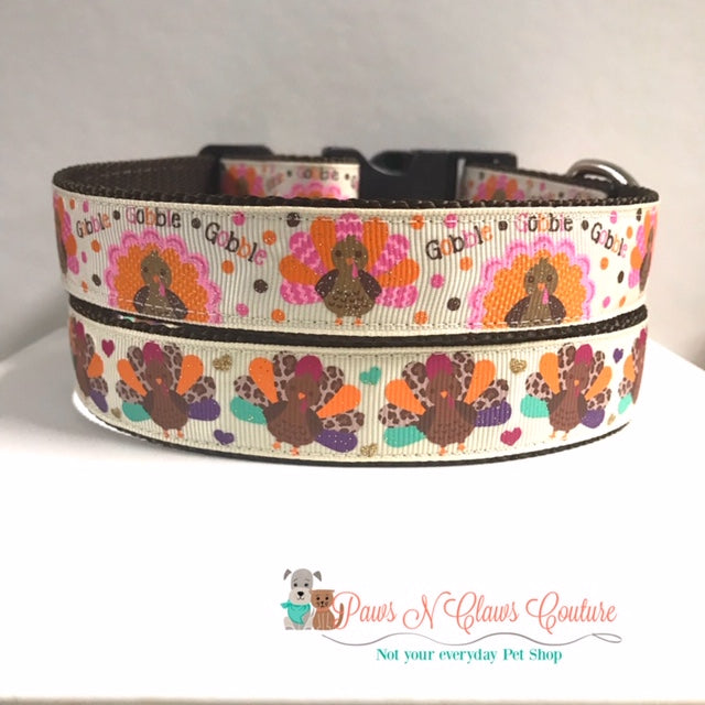 "1"" Pink or Leopard Turkey Dog Collar"