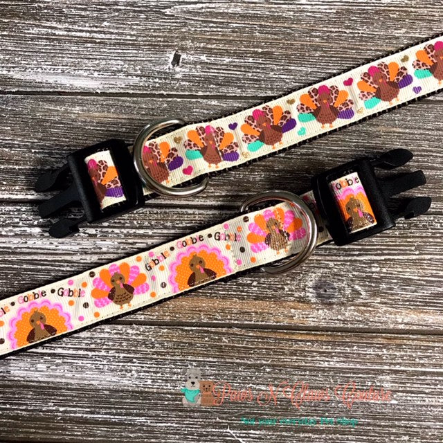 "1"" Pink or Leopard Turkey Dog Collar - Paws N Claws Couture"