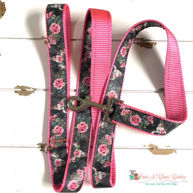 "1"" Western Skulls and Flowers Dog Collar, Leash Available - Paws N Claws Couture"