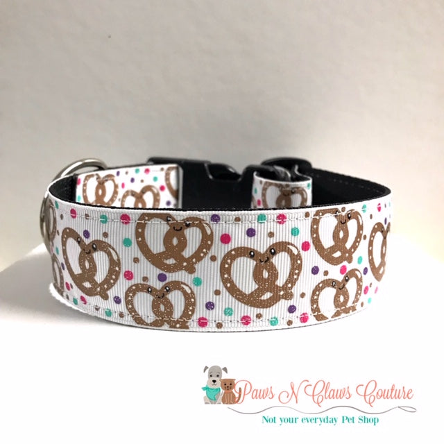 "1.5"" Happy Pretzels Dog Collar - Paws N Claws Couture"