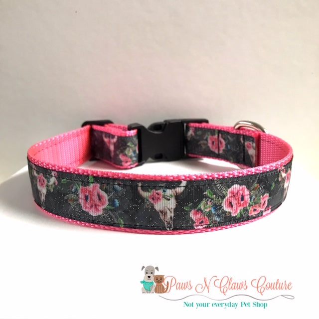 "1"" Western Skulls and Flowers Dog Collar, Leash Available"