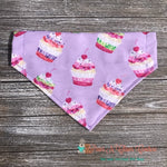 Cupcakes on Light Purple Bandana - Paws N Claws Couture