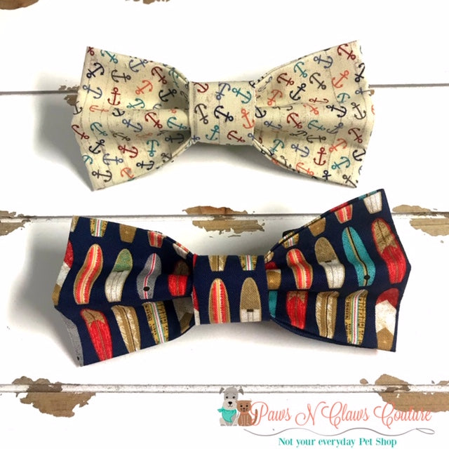 Anchors or Surfboards Bow Ties - Paws N Claws Couture