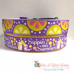"1"" Lemons on Purple Dog Collar - Paws N Claws Couture"
